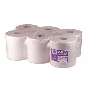 White Centrefeed Roll Wipeclean Professional 2ply -  6 Per Pack